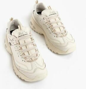 Skechers D'LITES FRESH START Ladies Womens Laces Retro Sports Trainers Off White
