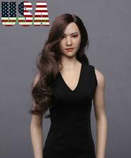 "1/6 Asian Female Head Sculpt Brown Hair For 12"" PHICEN Hot Toys Figure ❶USA❶"