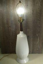 Vintage Mid Century Modern White Ceramic & Teak Table Lamp Danish Eames Era