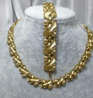 VINTAGE Philippe Crown TRIFARI Gold-tone Acorn Oak Leaf NECKLACE & EARRINGS