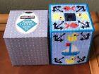 Handmade Needlepoint Plastic Canvas Tissue Box Cover -Sailing TBC