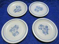 "Pfaltzgraff USA Blue & White YORKTOWNE Set of 4 Dessert / Bread  Plates  6 7/8"""