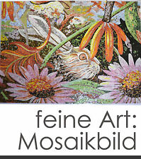 "Fine Mosaic Image "" Rabbit in the Flower Bed "" 200X160 cm 3,2m ² 35.000 Stones"