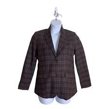 EDDIE BAUER Equestrian Blazer Wool Blend Plaid Hacking Jacket  Women Size 8