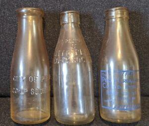 vintage perthshire milk 3 bottle  Perth co-op + creamery co ballathie