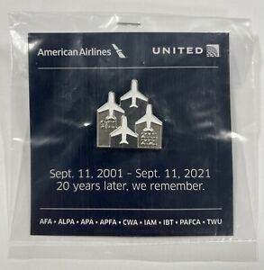 20 Year Anniversary American & United Airlines 9/11 Memorial Pin 911 20th
