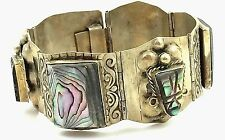 "ANTIQUE .925 STERLING SILVER & CARVED ABALONE MAYAN/AZTEC BRACELET, 7"" MEXICO"