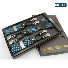 Men Luxury Suspenders Braces Six Clips Leather Dot Print Straps Belt 165-195Cm
