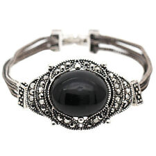 Rose Antique Silver Black round Stone Rhiernstones Vintage Style Bracelet BB193