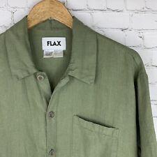 Men's FLAX (Small) Olive Green Short Sleeve 100% Linen Button Front Shirt