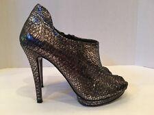 BCBG MAXAZRIA Shoes, Gunmetal Leather Snakeskin Embossed, 7.5 M
