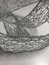 SILVER Mesh Ribbon Wired 1-1/2 inch wide Wire Edged 5 yards