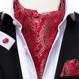 Red Mens Silk Ascot Tie Set Burgundy Gold Paisley Cravat Vintage Long Neck Scarf
