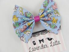 My Little Pony Retro Print Pastel Fabric Hair Bow -- 80s -- 90s -- Hair Bow