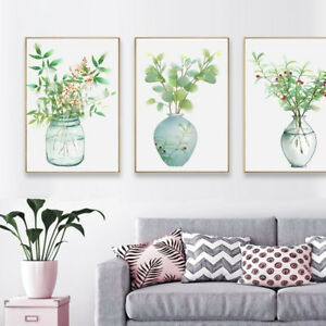3 Piece Canvas Prints Set - Green Plants in Vase Watercolor Art - Unframed