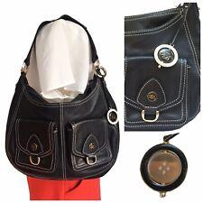 Ted Baker Bag Black Leather Saddle Shoulder Chic Gold Button Charm Handbag Smart
