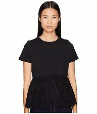 Kate Spade Broome Street Eyelet Flounce Tee Navy Size L rrp £85 DH078 LL 13