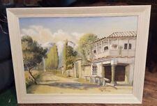 """1960 Original 19"""" X 27"""" Signed S BENCINI Painting Santiago Chile Landscape WOW"""