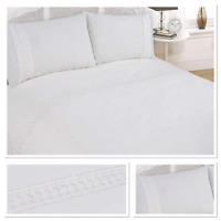 Rapport Sorrento Embroidered Lace Cuff Trim Duvet Cover Bedding Set White