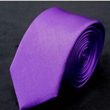 Classic Skinny Men Slim Tie Solid Color Plain Silk Jacquard Woven Necktie 5cm