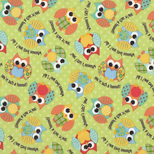 PUL Owls Waterproof Fabric For Making Nappies Wetbags Etc Avail FQ or Metre NEW