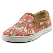 Zapatos planos de mujer mocasines color principal rosa de lona