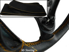 FOR RENAULT MAGNUM TRUCK 97-08 BLACK LEATHER STEERING WHEEL COVER GOLD STITCHING