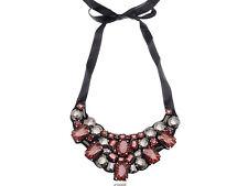 Fashion Beaded Bib Topaz Brown Morion Tribal Bib Ribbon Necklace Unique Jewelry