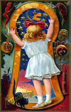 Vintage Halloween Keyhole Girl Moon Witch Black Postcard Poster Repro 14x18New