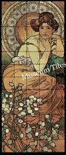Art Nouveau Tumbled Marble Tiles Wall 20x48 Alphonse Mucha Topaz