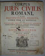 DIRITTO ROMANO GIUSTINIANO CORPUS JURIS CIVILIS ROMANI 1748 RARA EDIZIONE