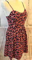 LC LAUREN CONRAD Women's Summer Dress Size 6 Cherries Red Pink Black Fit Flare