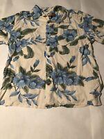 Havana Jacks Cafe Men's Floral Hawaiian Button Front Short Sleeve Shirt Size L