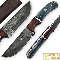 White Deer Blue Bunyan Damascus Steel Knife Bison Bone & Hardwood Handle SHARP