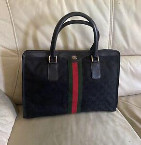 Vintage GUCCI Black GG Monogram Leather Trim Handbag - ITALY