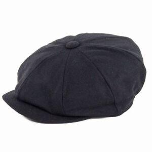 Failsworth Hats Alfie Melton Wool Bakerboy Cap - Black