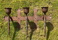 HEAVY VINTAGE FRENCH WROUGHT IRON FORGED 3 CANDLE HOLDER GOTHIC MEDIEVAL CHATEAU