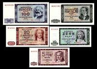 *** 5, 10, 20, 50, 100 DDR Mark Geldscheine 1964 Alte DDR Währung ***