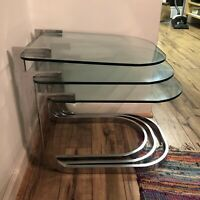 Design Institute of America Chrome and Glass Nesting Tables MCM Hollywood Glam