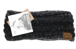 C.C Warm Unisex Solid Ribbed Ponytail or Flecked Ponytail Headband Headwrap