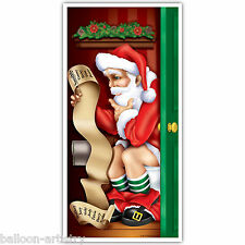 5ft Christmas Party Santa Claus Toilet Break Restroom Door Poster Decoration