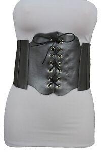 Women Gunmetal Pewter Elastic Fashion Wide Corset Belt Waist Plus Size M L XL