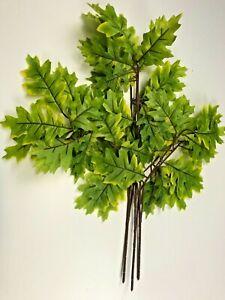 Pack of 3 Oak Leaf Sprays 68 cm Green Leaves Foliage Artificial Plastic Leaves