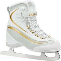 Lake Placid EVEREST Women's Soft Boot Figure Ice Skate White/Gold