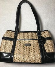 NINE & CO Handbag With A Straw/Leather Like Look In Cream Tan Gold Black Satchel