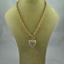 """17"""" Gold Toned Toggle Necklace With Puffy Clear Rhinestone Heart Charm"""