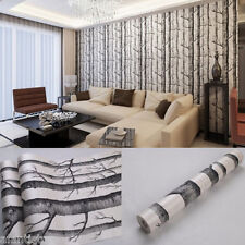 10m Rustic Modern Forest Birch Tree Wallpaper Black White Woods Wall Paper