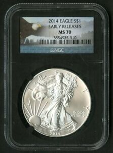 US Coin 2014 $1 Silver Eagle NGC MS70 Early Release  NO RESERVE!