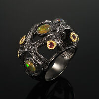 Natural Black Opal 925 Sterling Silver Ring Size 8/RR17-1557