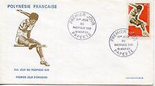 FDC / PREMIER JOUR POLYNESIE / TIMBRE N° 67 / SPORT SAUT EN HAUTEUR PAPEETE 1969
